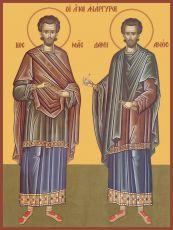 Икона Святые бессребреники Косма и Дамиан Ассийские