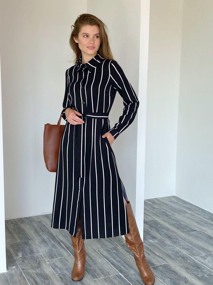 s2009 Платье-рубашка в широкую полоску чёрное