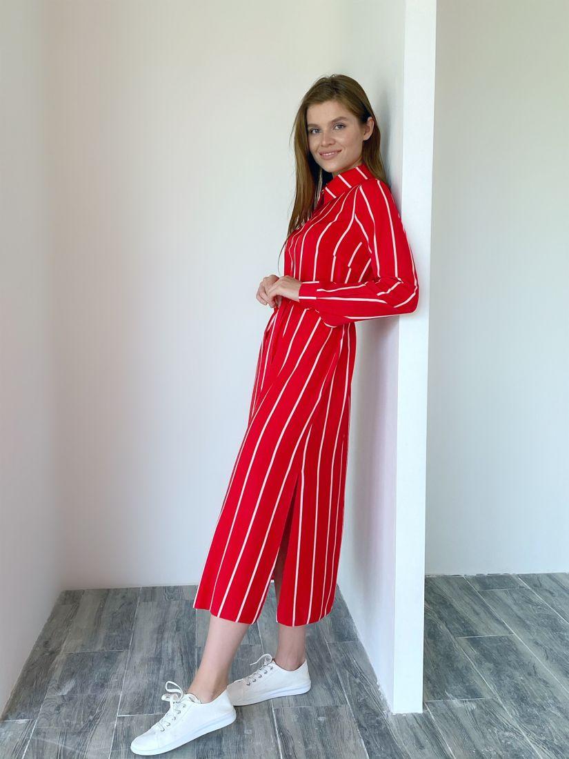 s2010 Платье-рубашка в широкую полоску красное