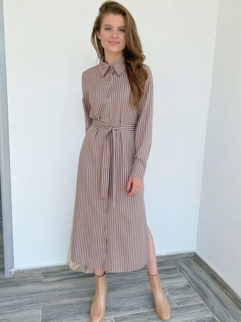 s2011 Платье-рубашка кофейное