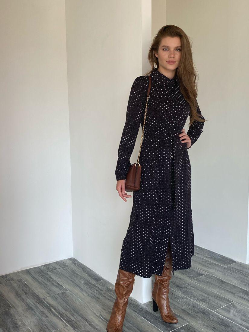 s2024 Платье-рубашка в горошек чёрная