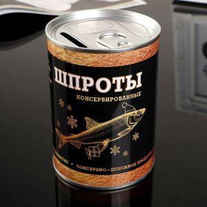 "Копилка металл банка ""Шпроты консервированные"" 10х7,3х7,3 см   4344940"