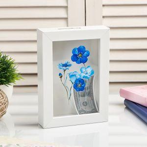 "Копилка интерьерная пластик ""Синие цветочки"" 17х12х3,8 см   4785417"