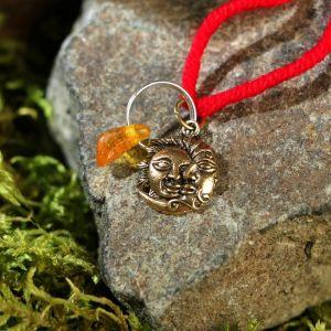 """Браслет-оберег """"Красная нить. Луна и Солнце"""" с подвеской, янтарь 3803562"""