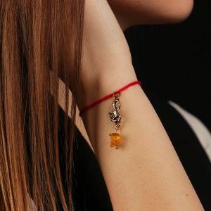 """Браслет-оберег """"Красная нить. Скорпион"""" с подвеской, янтарь 4767693"""