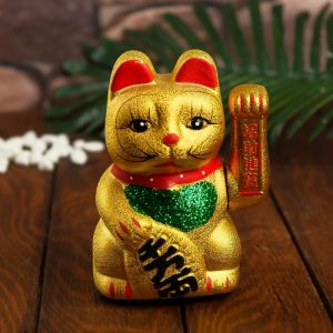 "Сувенир ""Кот Манэки-нэко"", цвет золото"