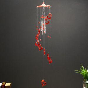 "Музыка ветра пластик ""Сердце"" 4 трубочки 11 фигурок МИКС 50 см   5043740"