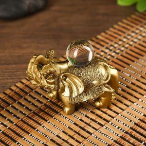 """Нэцке полистоун """"Индийский слон с кристаллом"""" под бронзу 6,5х4,5х9 см   4785360"""