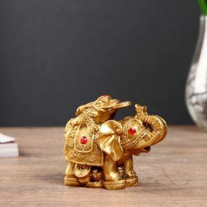 """Нэцке полистоун бронза """"Слон с денежной жабой на спине"""" 7,5х9,3х5,2 см   4432828"""