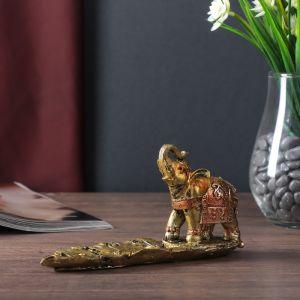 "Сувенир полистоун с подставкой под благовония ""Слон на листе"" 9х17х5 см   4556676"