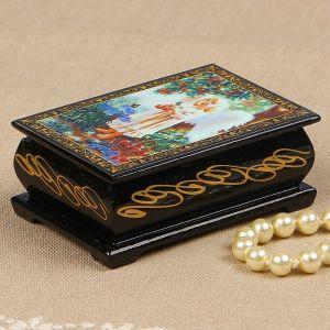 Шкатулка «Ангелок с персиками», 6?9 см, лаковая миниатюра 2314245