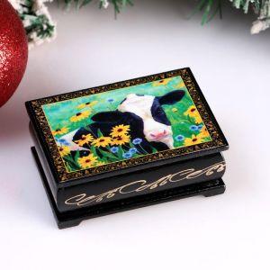 Шкатулка «Корова в цветах», 6х9 см, лаковая миниатюра 4997025