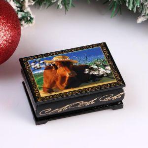 Шкатулка «Корова в шляпке», 6х9 см, лаковая миниатюра 4997023