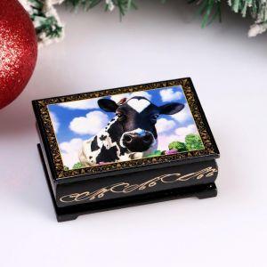 Шкатулка «Корова. Небо», 6х9 см, лаковая миниатюра 4997027