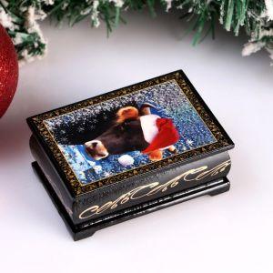Шкатулка «Корова. Новый год», 6х9 см, лаковая миниатюра 4997024