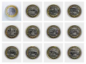 Набор монет 12 штук, 10 РУБЛЕЙ - ЛЕГЕНДАРНЫЕ ЛОКОМОТИВЫ СССР и РОССИИ, гравировка