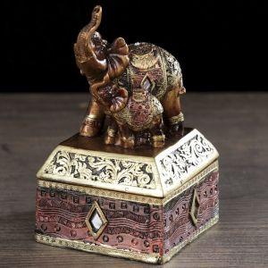 """Шкатулка полистоун """"Африканский слон в золотой, ажурной попоне"""" 14,5х8,5х8,5 см   3441627"""