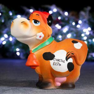 """Копилка """"Корова в шляпе - Счастье есть"""" 18х19см 5141197"""