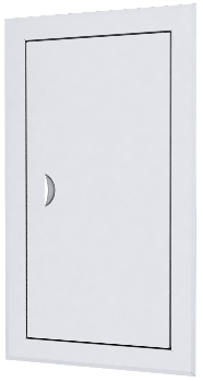 Люк-дверца ревизионная 360х360 с фланцем 300х300 с ручкой стальная с покрытием полимерной эмалью