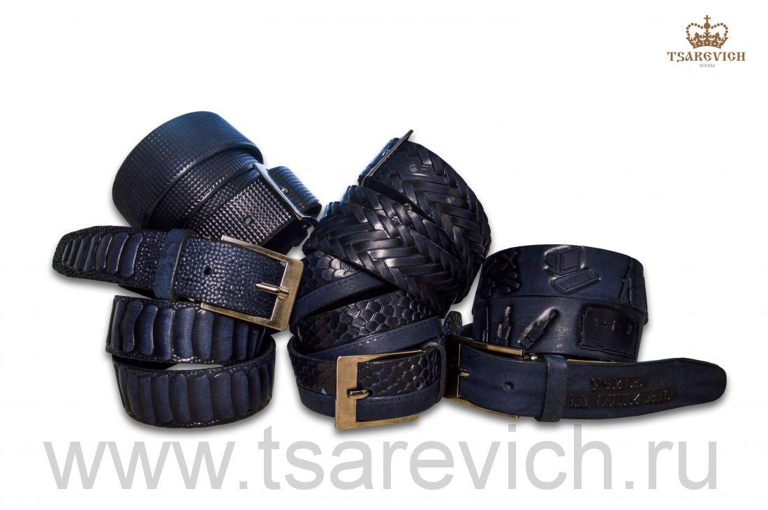 Ремень детский оптом от 1 шт. арт. 3,0 Tsarevich синие 100% кожа (синий)