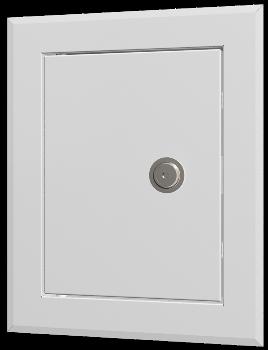 Люк-дверца ревизионная 360х360 с фланцем 300х300 с замком стальная с покрытием полимерной эмалью