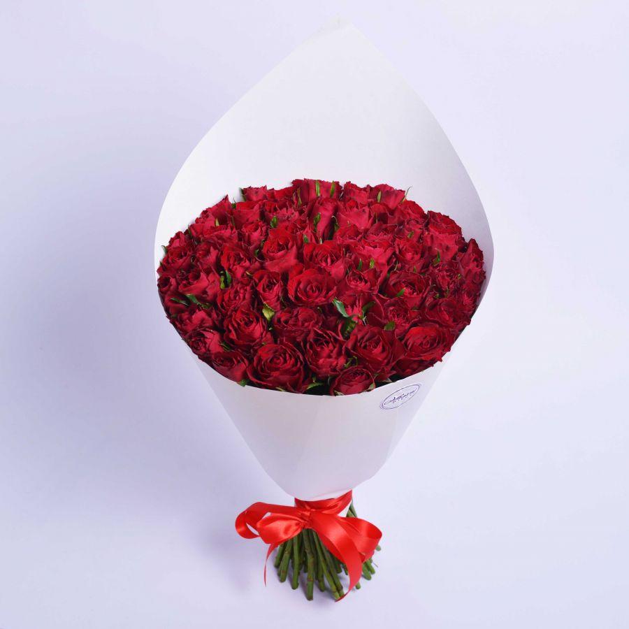 51 красная роза 50см
