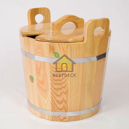 Запарник из лиственницы с крышкой 22 л.,  цвет: натуральный