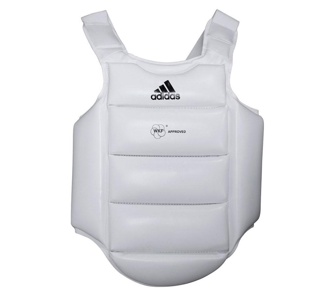 Защита корпуса Adidas детская Body Protector WKF белая c черным логотипом, размер M,  артикул adiPKID