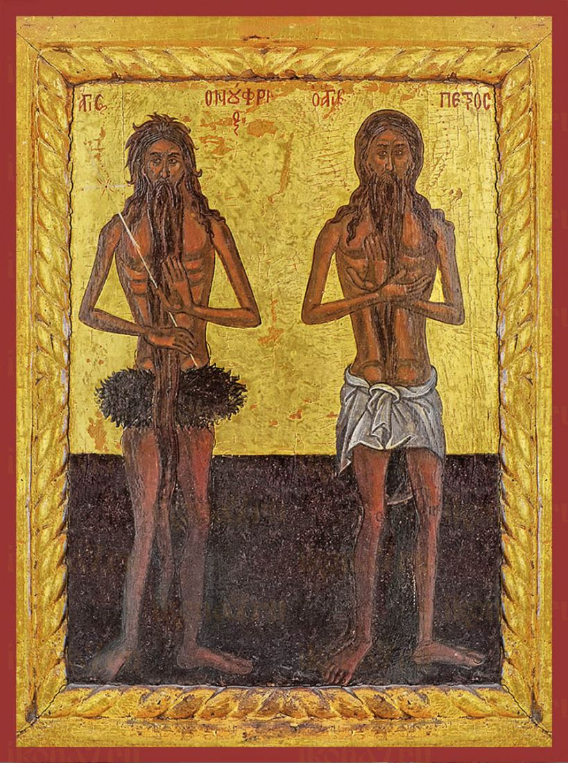 Икона Онуфрий Великий и Пётр Афонский преподобные