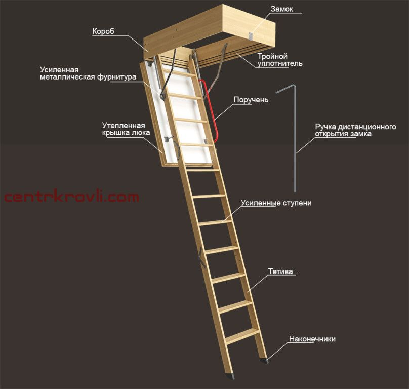 Чердачная лестница Docke Lux деревянная 300х70х120 см