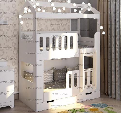 Кровать двухъярусная Домик с лесенкой без ящика (80*160) белая ДС-17