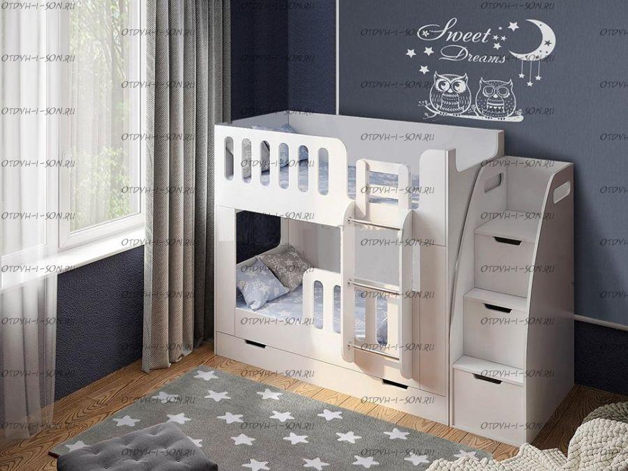 Кровать двухъярусная с лесенкой белая ДС-20+