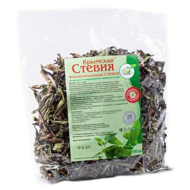 Стевия сухой лист упаковка 100 гр
