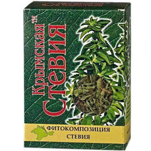 Стевия сухой лист коробка Крымская Стевия 25 гр