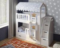 Кровать двухъярусная Домик с лесенкой ДС-17+