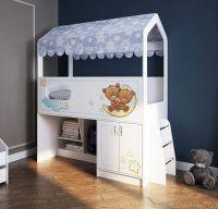 Кровать-чердак Домик с лесенкой, белая ДС-12