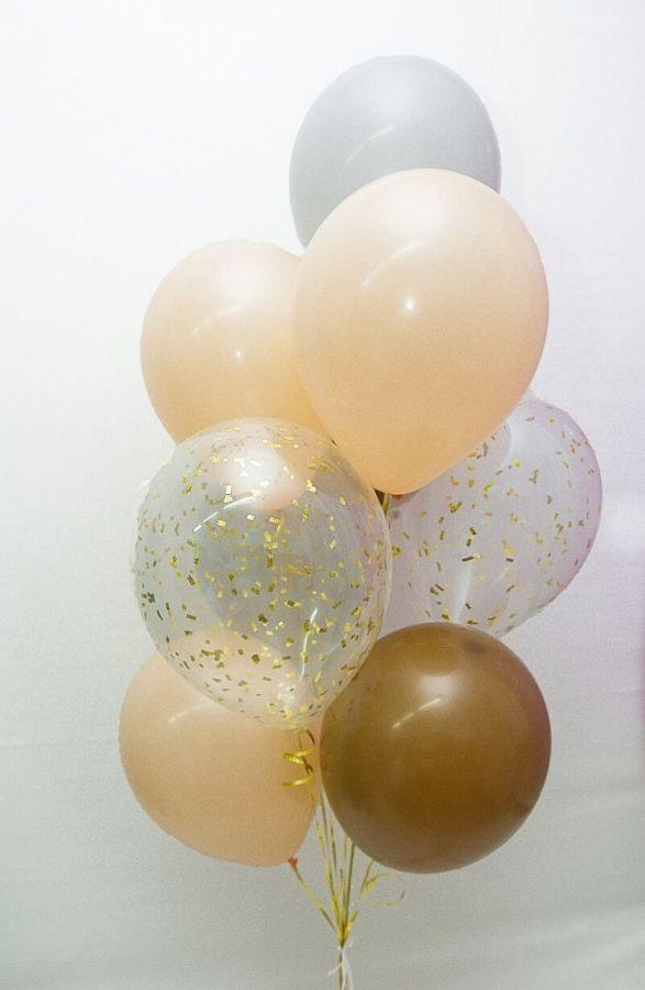 Гелиевые шары набор с серыми шарами