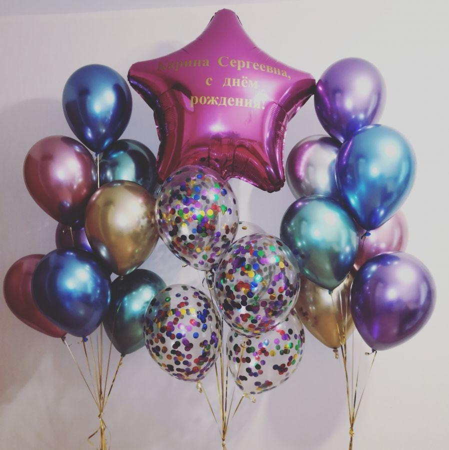 Композиция из воздушных шаров Хром со звездой
