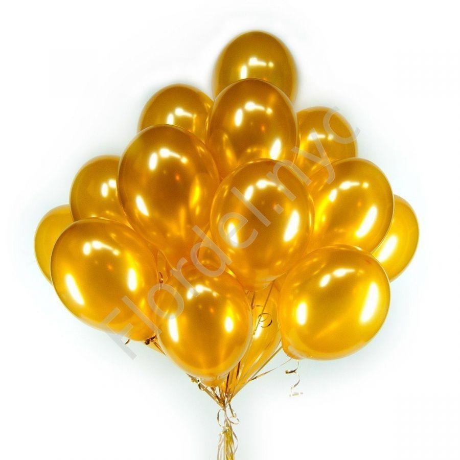 Золотые шары с гелием 35 шт