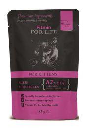 FITMIN Пауч для котят Кусочки с курицей в соусе 85 г