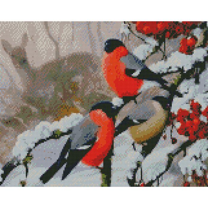 Набор Алмазная мозаика Снегири в лесу с рамкой 40*50 см