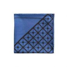 Английский нагрудный платок Диагональ Черный и синий   DIAGONAL SQUARE BLACK BLUE SILK POCKET SQUARE