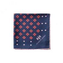 """Английский нагрудный платок """"Бриллианты Навсегда -  Темно-синий и красный"""" DIAMONDS FOR EVER RED AND NAVY SILK POCKET SQUARE"""