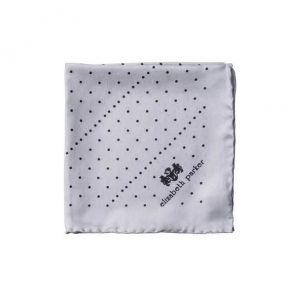 Английский нагрудный платок Серые Точки- Грей Дотти GREY MULTI DOTTY SILK POCKET SQUARE