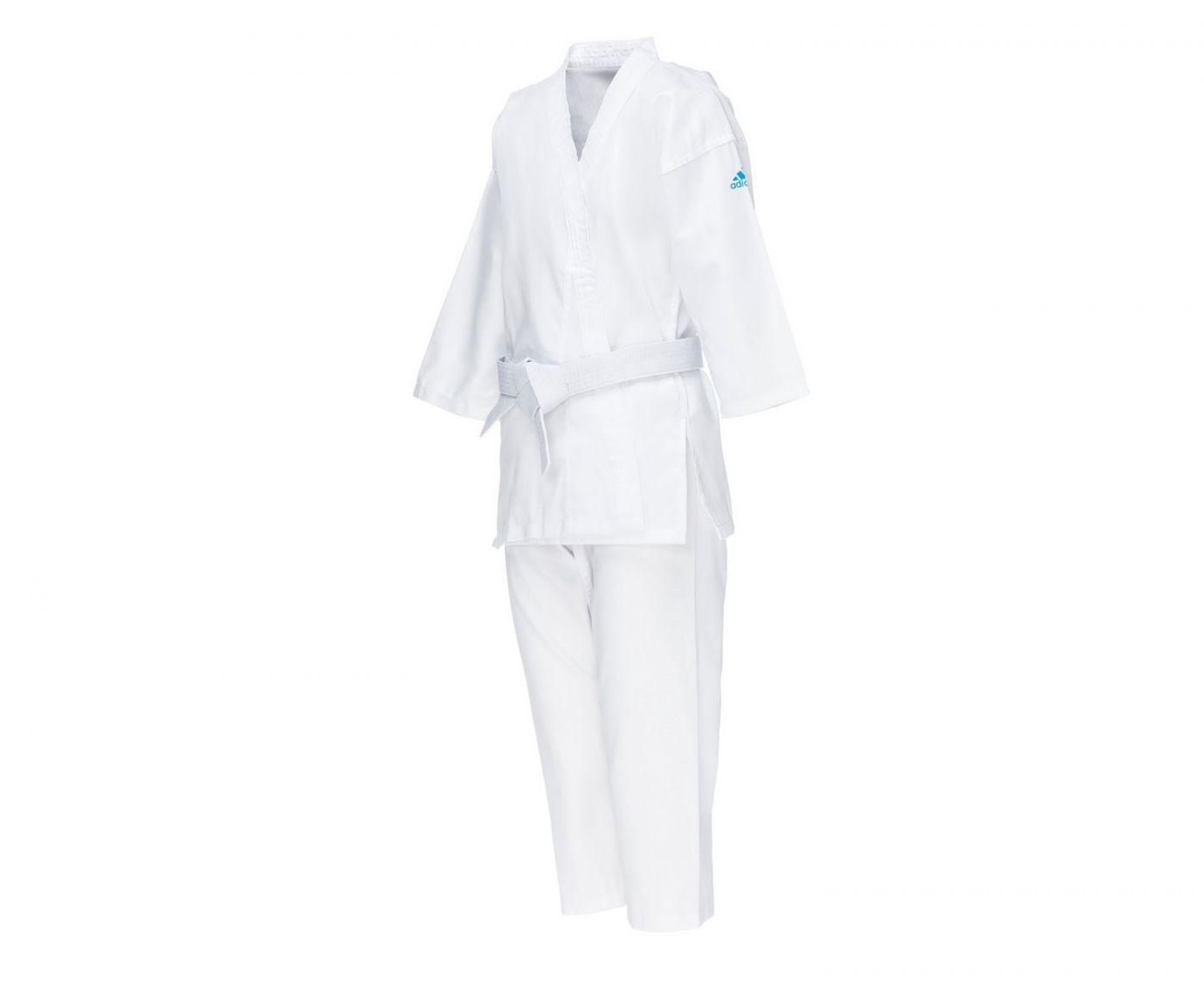 Кимоно для карате Adidas подростковое с поясом adiStart белое с голубым логотипом, размер 120 см, артикул K181K