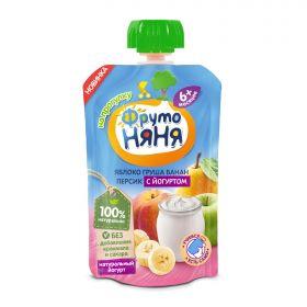 ФрутоНяня Яблоко, груша, банан, персик с йогуртом 90г