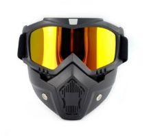 Очки маска для езды на мототехнике, разборные, стекло зеркальное желтое