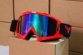 Мотоочки маска горнолыжная затемненный визор TANKED, акрил, пластик, цвет оправы - красный
