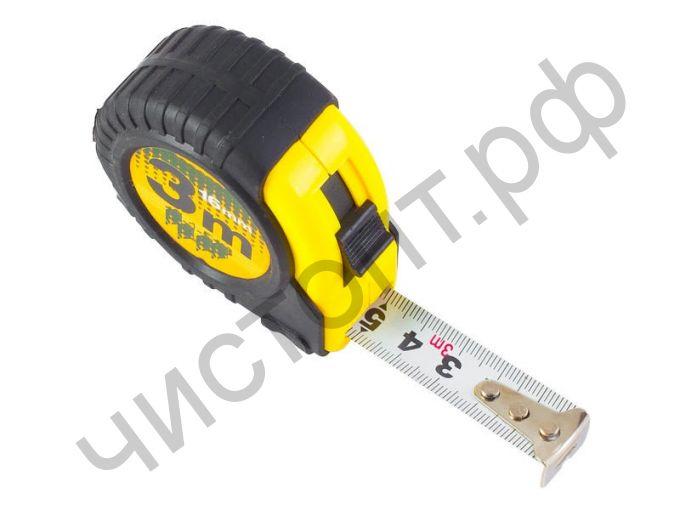 Рулетка измерит., 3мх16мм, Professional, прорезиненный корпус,2 фиксатора,магнитный зацеп
