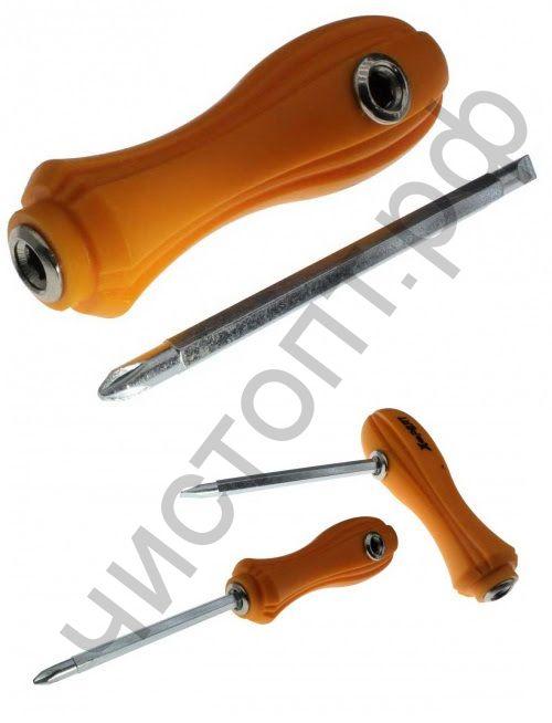 Отвертка X-PERT двухсторонняя, пластик. ручка, 6 x 200mm, магнитная, D-4
